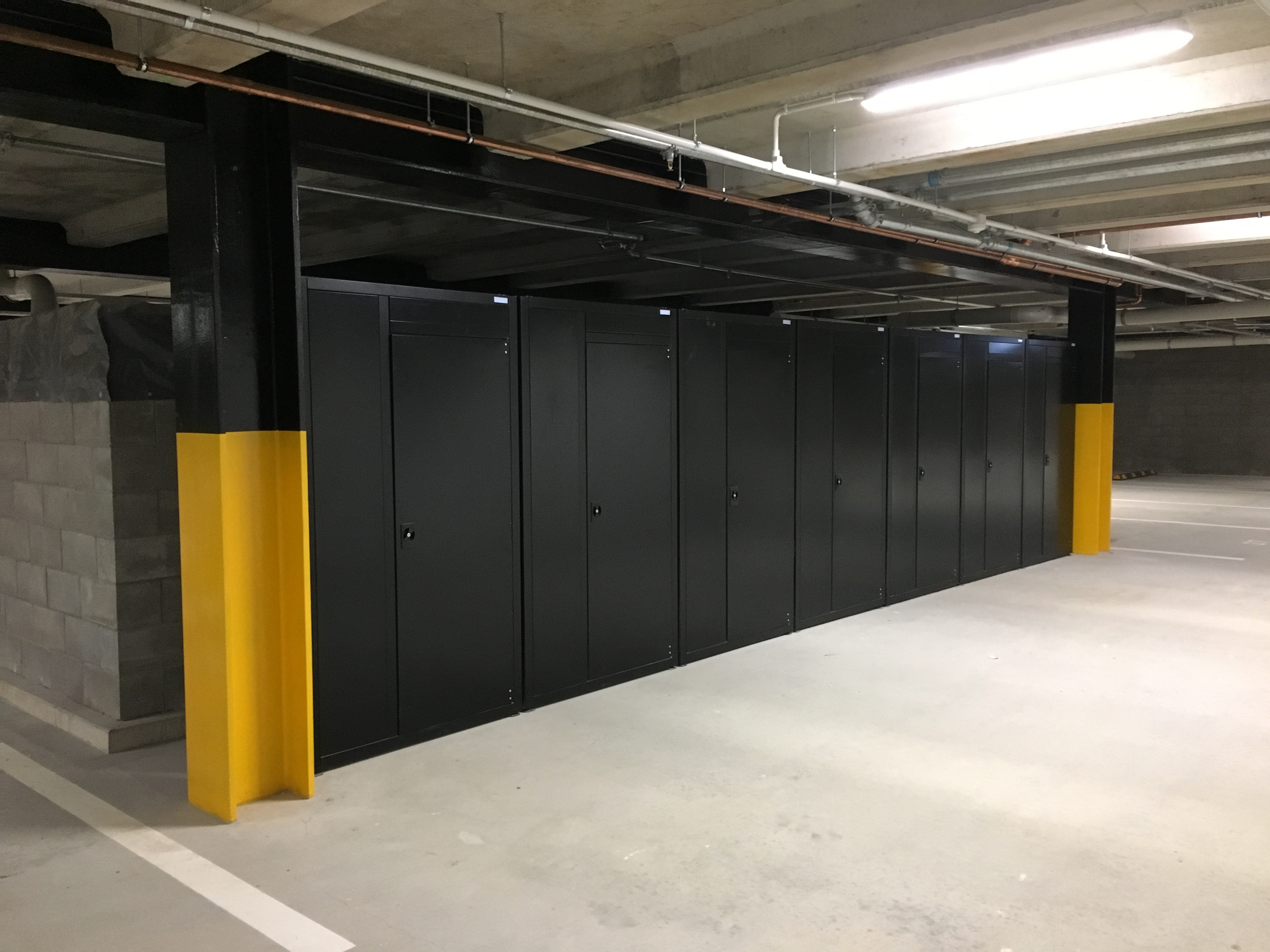 Single Upright Storage Locker bank of single door cabinets, Grey Lynn Apartments Auckland (5)