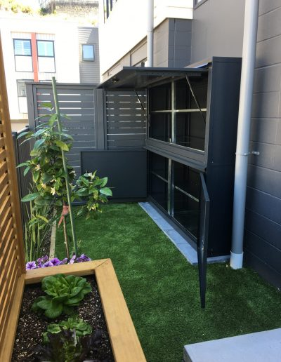 An outdoor stand alone storage container